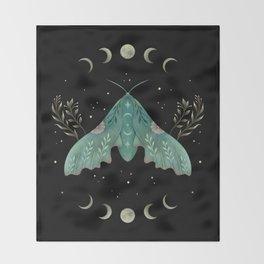 Luna and Moth - Midnight Black Throw Blanket