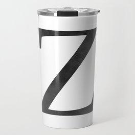 Letter Z Initial Monogram Black and White Travel Mug
