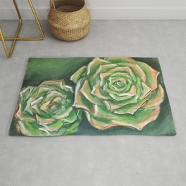 Green Succulents Rug