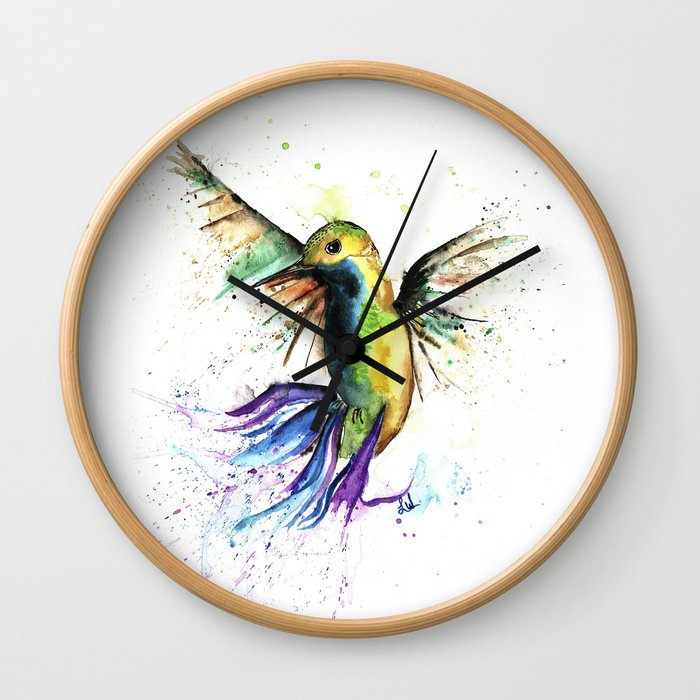 Humming Bird - Ribbons Wall Clock