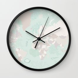 """World map with coral, seaweed and marine creatures, """"Lenore"""" Wall Clock"""
