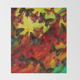 Butterflies Abstract mixed media digital art collage Throw Blanket