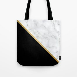 Marble, Black, White, Gold, Abstract Color Block Tote Bag