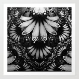 Shikoba Fractal -- Glittering Black and White Feathers in the Night Art Print