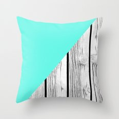 Aqua Blue vs Old Weathered Wood Throw Pillow