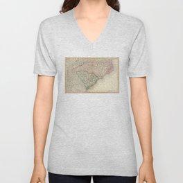 Vintage Map of The Carolinas (1879) Unisex V-Neck