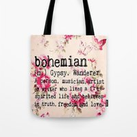 bohemian Tote Bags featuring Bohemian by Luxe Glam Decor