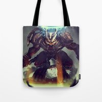 titan Tote Bags featuring Titan Terrabreaker by Benedick Bana