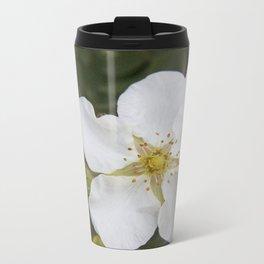 white wild rose Metal Travel Mug