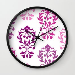 Heart Damask Art I Pinks Plums White Wall Clock