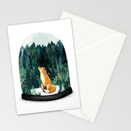 Snow Globe Fox Stationery Cards