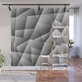 Exclusive light monochrome pattern of chaotic black and white geometric shapes. Wall Mural
