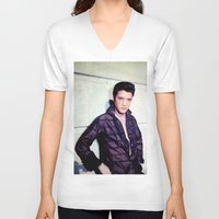 elvis presley V-neck T-shirts featuring Elvis Presley by Neon Monsters