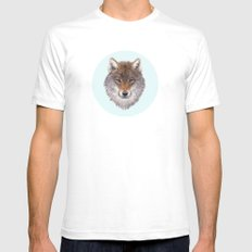 Grey wolf portrait Mens Fitted Tee SMALL White