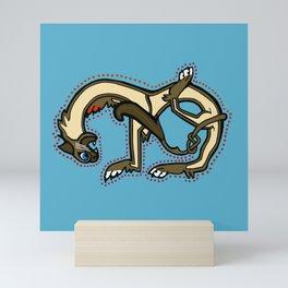 Red Paw in Pigment Ragdoll Cat Letter M Mini Art Print