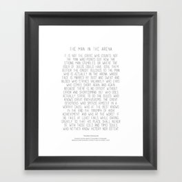 The Man In The Arena by Theodore Roosevelt 2 #minimalism Framed Art Print
