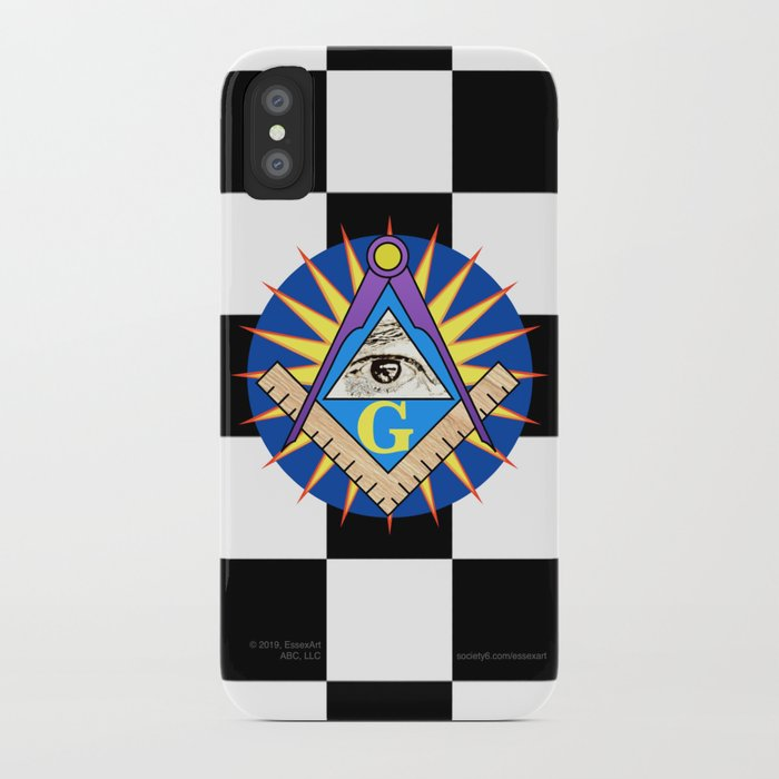 Masonic Square & Compass On Blue Disc iPhone Case by essexart