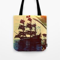 pirate ship Tote Bags featuring pirate ship by Ancello