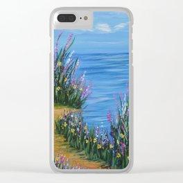 One Path, Ocean Seascape, Modern Impressionism, Beach Art Clear iPhone Case