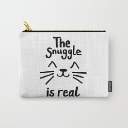 The Snuggle is Real (Black on White) Carry-All Pouch