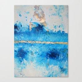Rainy Day: a pretty minimal abstract mixed media piece in blue & gold by Alyssa Hamilton Art Canvas Print