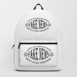 Fake News badge (black on white) Backpack