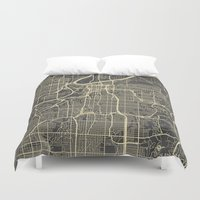 kansas city Duvet Covers featuring Kansas City map by Map Map Maps