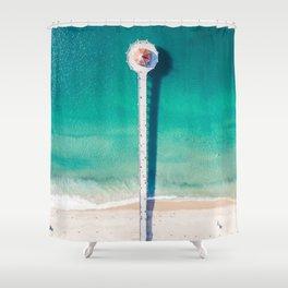 Aerial of Manhattan Beach pier Shower Curtain
