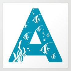 A is for Angelfish - Animal Alphabet Series Art Print