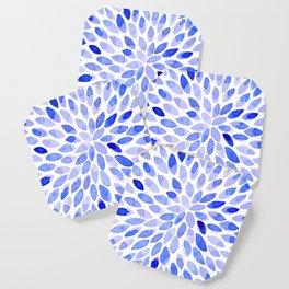 Watercolor brush strokes - blue Coaster