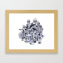 Jumbled City full of assorted junnk Framed Art Print