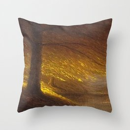 Sunburst through the Autumn Trees by the River landscape by H. Joiner Throw Pillow