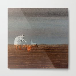 Old Age – Hunched Old Lady by the Sea Feeds Swans, Sunset Metal Print