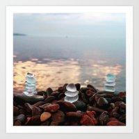Three Beach Glass Cairns Art Print