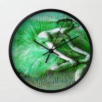degas Wall Clocks featuring Green Tutu Ballerina by PureVintageLove