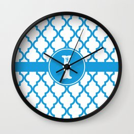 Blue Monogram: Letter I Wall Clock