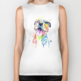 Pit Bull, Pitbull Watercolor Painting - The Softer Side Biker Tank
