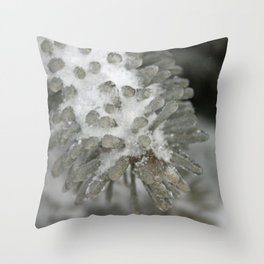Frozen Pine Needles Throw Pillow
