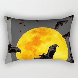 GREY HALLOWEEN BAT MIGRATION TO  MOON ART Rectangular Pillow