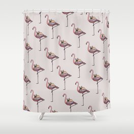 Flamingo and French Bulldog Shower Curtain