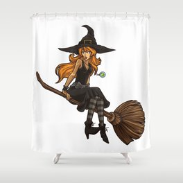 Cute Witch Sits On Her Broom   Halloween Shower Curtain
