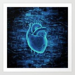 Gamer Heart BLUE TECH / 3D render of mechanical heart Art Print