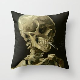 Vincent van Gogh Head of a Skeleton with a Burning Cigarette Throw Pillow