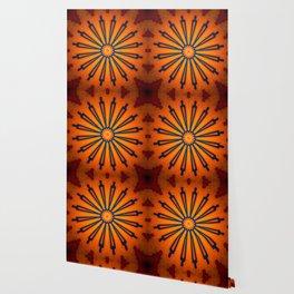 Rich Orange And Navy Blue Flower Mandala Wallpaper