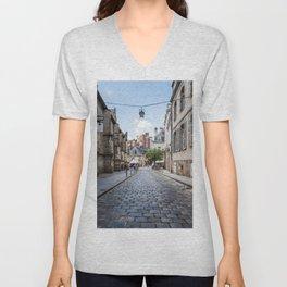 Cobblestoned street in historic centre of Rennes, France Unisex V-Neck