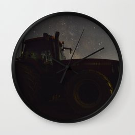 Tractor with the Night Sky Wall Clock