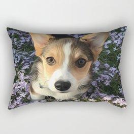 Painted Corgi in Flowers Rectangular Pillow