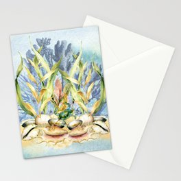 Watercolor Under Sea Collection: Shells and Sea Grass Stationery Cards