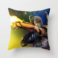boba Throw Pillows featuring Boba Fett by Vincent Vernacatola