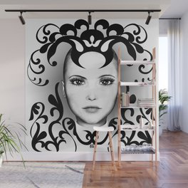 Black and white ornamental face Wall Mural